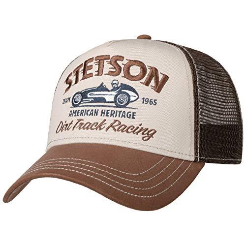 Stetson Dirt Track Racing Trucker Cap Herren - Aus Baumwolle - One Size (55-60 cm) - Verstellbare Mesh Cap - Snapback mit luftigem Netzteil - Zweifarbige Basecap - Sommer/Winter braun One Size