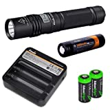 Fenix E35 Ultimate Edition 900 (E35UE) Lumen CREE XM-L2 U2 LED Flashlight with Genuine Fenix ARB-L2S 18650 3400mAh Li-ion rechargeable battery, Fenix ARE-C1 home/car Charger and 2 X EdisonBright CR123A Lithium batteries package