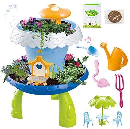 deAO Jardín en Miniatura Mi Cuento de Hadas Casa de Campo Mágica para Muñecas Juego de Botánica Infantil Incluye Semillas, Tierra y Accesorios