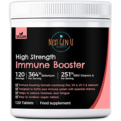 Immune Booster Tablets – 120 High Strength Vegan Immune Support Supplement   4 Months Supply   Immune System Vitamins A Vitamin C Zinc and Selenium   Additives and Gluten Free