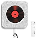 Reproductor de CD portátil con Bluetooth Reproductor de CD montable en la Pared Altavoces de Alta fidelidad incorporados para Control Remoto doméstico Reproductor de CD