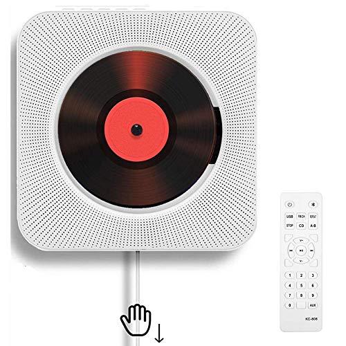 Tragbarer CD-Player mit an der Wand montierbaren Bluetooth-HiFi-Lautsprechern, Home-Audio-Boombox mit Fernbedienung FM-Radio USB-MP3-3,5-mm-Kopfhörerbuchse AUX-Eingang / -Ausgang mit Zugschalter