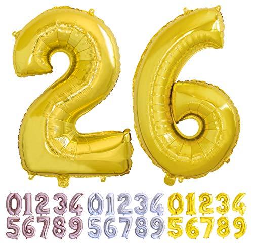 Globo numero 26 o 62 dorado Globos Gigante números 2 6 del 0 al 99 fiestas cumpleaños decoración fiesta aniversario boda tamaño grande 70 cm con accesorio para inflar aire o helio (26/62 Oro)