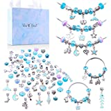 MARQUEEN Charm Bracelets Kit, 66 Pcs DIY Jewelry Making Kits with Bracelet Beads, Jewelry Charms, Bracelets for Jewelry Making and DIY Crafts with Blue Gift Box for Girls Teens Women