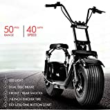Winkine 2000W Electric Moped Fat Tire Scooter with Front/Rear Shocks, Dual Disc Brakes One Button Start Electric Fat Tire Motor Bike for Adult with 2 Seats/Backrest/Cargo/Helmet,60V 21.8Ah