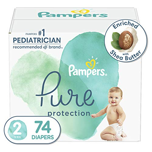 Diapers Size 2, 74 Count - Pampers Pure Protection Disposable Baby Diapers, Hypoallergenic and Unscented Protection, Super Pack (Packaging May Vary)