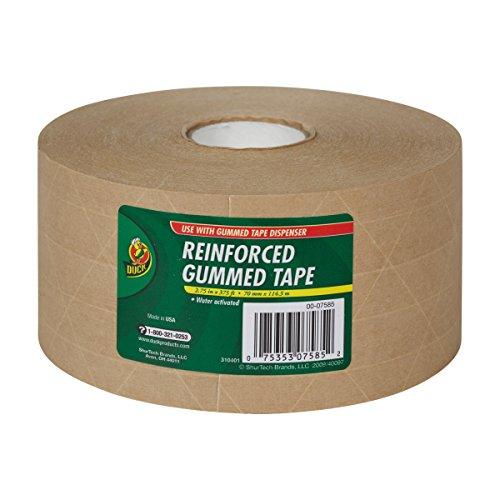 Duck Fiberglass Reinforced Gummed Kraft Paper Tape, Water Activated, 2.75 Inches x 375 Feet (964913)