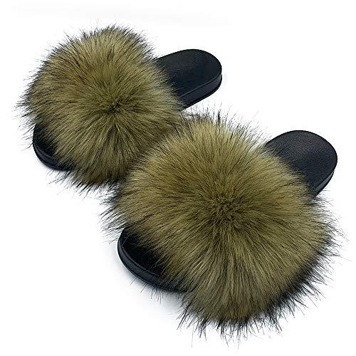 ZOSCGJMY Kunstfell-Pantoletten für Damen, flauschige Hausschuhe, flauschige Sandalen, pelzige Slides, offener Zehenbereich, drinnen und draußen, (Waschbär-Imitat), 39 EU