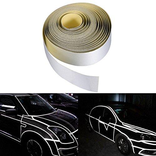 VOSAREA 2cm x 5m Auto Reflektierender Aufkleber Körper Felgen Aufkleber DIY Klebeband Selbstklebender Aufkleber (Silber)