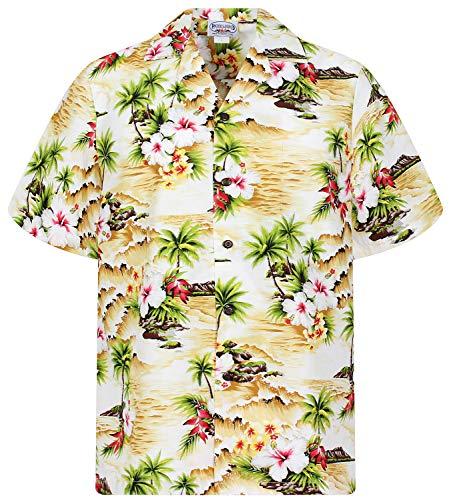 Pacific Legend Original Hawaiihemd, Kurzarm, Welle, Beige, 4XL
