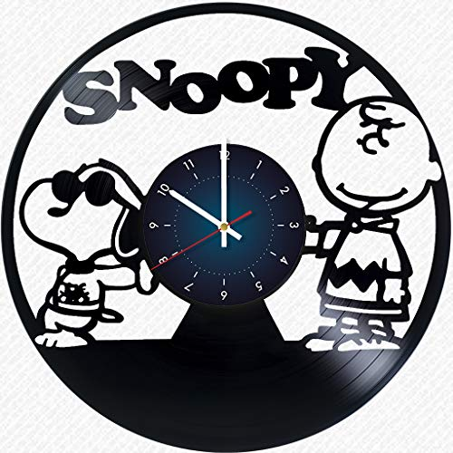 Snoopy Peanuts - Vinyl Clock Record Wall Clock Handmade Fan Art Decor Unique Decorative Vinyl Clock - The Best Original Gift for Children