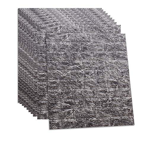 RAIN QUEEN クッションシート レンガ調 壁紙シール 防音シート グレー 防水 壁紙 断熱 クッションブリック 部屋 壁 貼る のり付き おしゃれ 北欧 3D 立体 リビング 寝室 キッチン 洗面所 トイレ 発泡スチロール 70cm×77cm大判