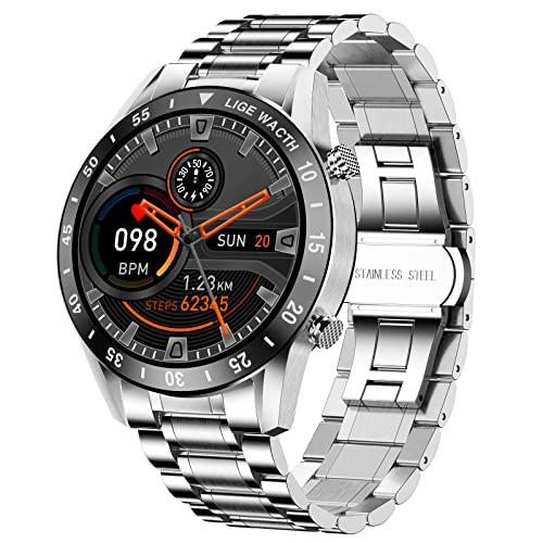 LIGE SmartWatches,Intelligente Uhr Fitness Tracker 1.3 Zoll Touch-Farbdisplay Herrenuhr mit Pulsmesser Schlafmonitor Wasserdicht Bluetooth-Anrufe Herren Armbanduhr für Android iOS