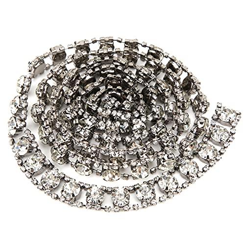 Shanrya Cadena De Diamantes De Imitación, Cadena De Garra De Cadena Cerrada De Diamantes De Imitación para Bodas(Fondo Gris Pistola)