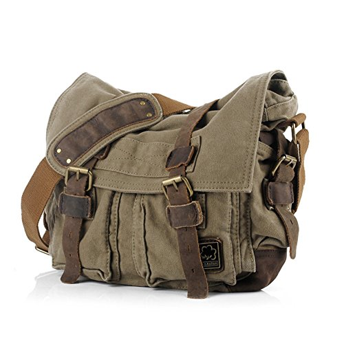 Messenger Bag, Vintage Canvas Leather Satchel 15' Laptop Crossbody Shoulder Bag with Straps for Men Military Travel Women School Boys Girls Teen [Army Green]