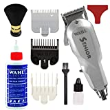 Wahl Professional Series Senior Clipper #8545 – Great for Professional Stylists and Barbers – V9000 Electromagnetic Motor –Silver -Aluminum metal bottom housing with Bonus Oil and Neck Duster