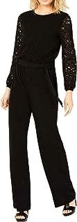 Michael Kors Women's Jumpsuit Lace Sleeve Wide Leg Black XS