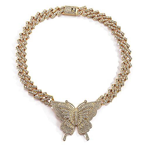 Sobneqce Moda Hip Hop Completo Cubano Butterfly Link Collar Cadena Iced out Chunky Curb Cadena Gruesa Collares, Cadena de Cierre de Rhinestone Regalo (Color : Gold)