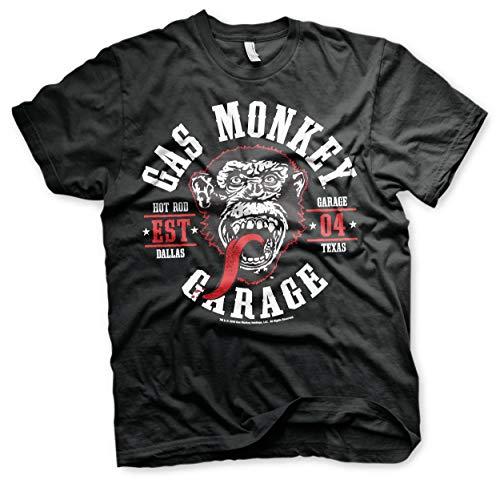 Gas Monkey Garage - Speed Green Wheels T-Shirt Gas Mono Garaje - Verde velocidad Ruedas de la camiseta (Negro) (XX-Grande)