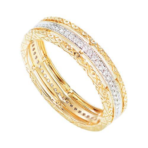 Daesar Anello di Matrimonio Oro Giallo 18K Anelli Donna 0.18ct Anello Cavo con Diamante Bianco Rotonda Anello Matrimonio Donna Misura 21