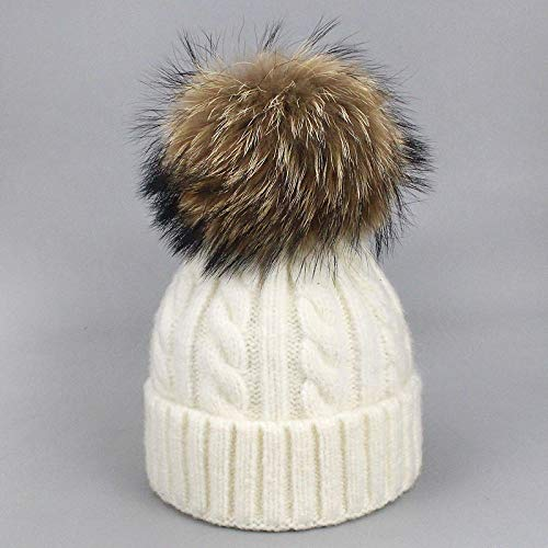 Sombrero de Invierno Sombreros de Las niñas Real Fox Raccoon Piel Pompon Sombrero de Lana otoño Caliente Calaveras Gorras Sombreros para Las Mujeres niños bebé Gorro Sombrero