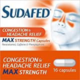 Sudafed Congestion & Headache Relief Max Strength Capsules, 16 Capsules