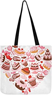 Candy Heart Canvas Tote Handbag Shoulder Bag Crossbody Bags Purses For Men And Women Shopping Tote