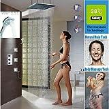 Bang Thermostat Badezimmer Dusche Wasserhahn, 24-Zoll-gebürstet LED 3 Farben Duschkopf Wasserfall und regen Handbrause