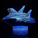 3D Warcraft Fighter Plane Night Light J-16 Combat Aircraft Lights Military Jet Plane Illusion Lamp with Remote Controller USB Cable Powered Best Gift for Boys Children Teens