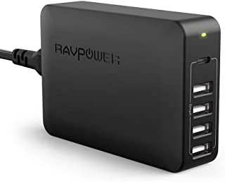 USB C PD Charger, RAVPower 60W 5-Port USB Desktop Charging Station with 45W Power Delivery Port, Compatible MacBook, iPad Pro 2018, iPhone Xs XS XR X, Galaxy S9 S8 and More-Black