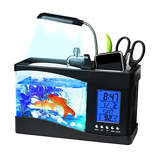 Awtang Mini Desktop Aquarium USB Fish Tank LCD Desktop Lamp With Clock Alarm Calendar Fish Bowl Black