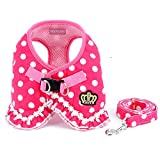 SELMAI Brother cat Dog Small Dog Harness Pink Leash Set Ladies Polka Dot Vest Mesh Padded Lead for Pet Cat Puppy Girls S