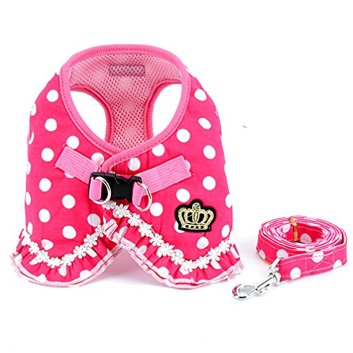 SMALLLEE_LUCKY_STORE No Pull Polka Dot Small Dog Cat Harness with Crown, Soft Mesh Padded Vest Harness and Leash Set for Girls,Pink L