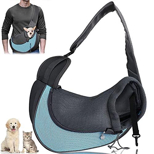 MCSWKEY Mochila para Perros y Gatos, Bolsa de Transporte para Cachorros con Malla Transpirable, Transportin Perro Bandolera Ajustable Tote Bag para Gatos, Conejos, Cachorros, Adecuada para Mascotas de Menos de 3 kg