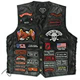 Genuine Buffalo Leather Biker Vest with 42 Patches - XL