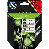 HP 950XL/951XL Pack de 4 Cartouches d'Encre Noir, Cyan, Magenta et Jaune grandes capacités Authentiques (C2P43AE)