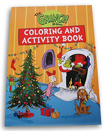 Winter Holiday How The Grinch Stole Christmas Coloring and Activity Book - 80 Pages (Orange)
