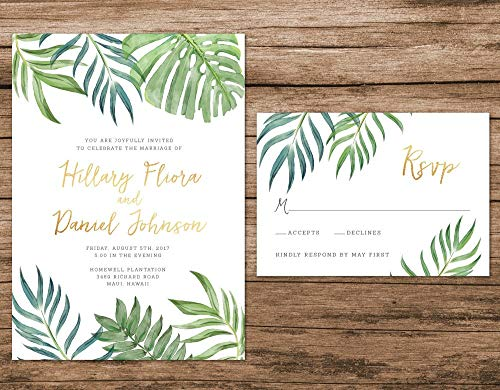 Tropical Leaves Wedding Invitation, Botanical Wedding Invitation, Destination Wedding Invite