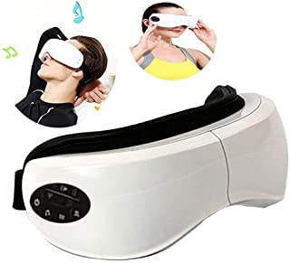 Masajeador de ojos, WULAU gafas de masaje recargables, masajeador digital inalámbrico con presión de aire, compresión de calor, masaje de vibración y música para el ojo seco