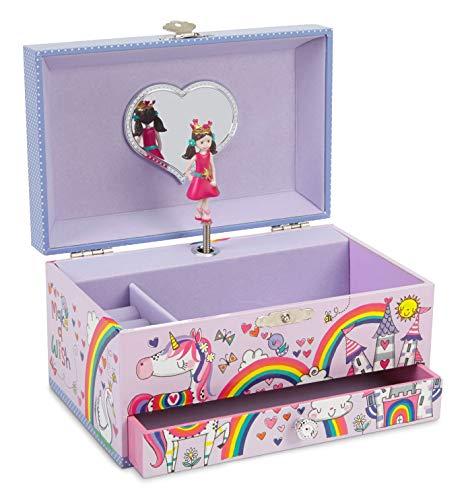 Jewelkeeper - Einhorn Prinzessin Musikschmuckbox mit ausziehbarer Schublade, Regenbogen-Glitter-Finish von Rachel Ellen Designs - Tanz der Zuckerfee Melodie