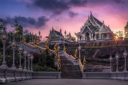 N\A Kit de pintura de diamante 5D para adultos, kit de pintura de diamante para adultos, manualidades, regalo, luces de puesta de sol, templo de escalera en Tailandia 30 x 40 cm