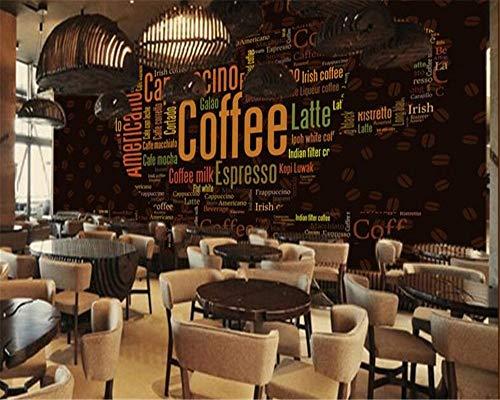 XZCWWH Fototapete 3D Wallpaper Alphabet Kaffeetasse Dekoriert Hintergrund Kaffeestube Hintergrundbild Für Wände 3 D Poster Wandaufkleber Türaufkleber,350Cm(W)×256Cm(H)