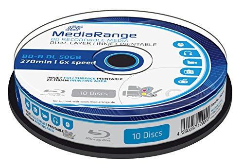 MediaRange MR509 BD-R Dual Layer 50GB 6-fache Schreibgeschwindigkeit, vollflächig bedruckbar, 10er Cakebox