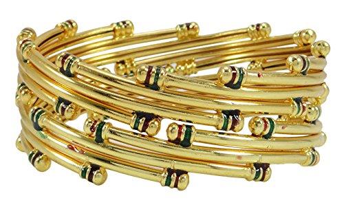 Matra 18k laminato oro Bollywood Indian tradizionale kada braccialetti del braccialetto gioielli 2 * 10