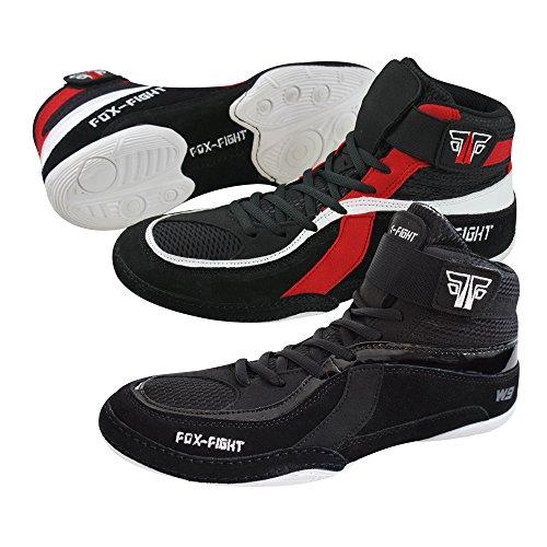 FOX-FIGHT Ringer Schuhe (Wrestling) / Wildleder 44 - schwarz/rot
