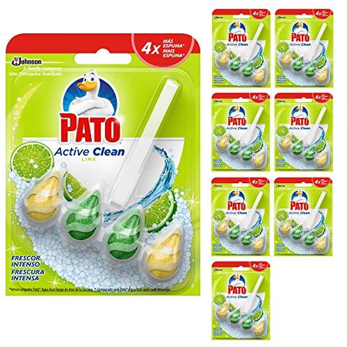 Pato - Active Clean colgador para inodoro, frescor intenso, perfuma y desinfecta, aroma Lima, 1 ud. [Pack de 8][Todos los aromas]