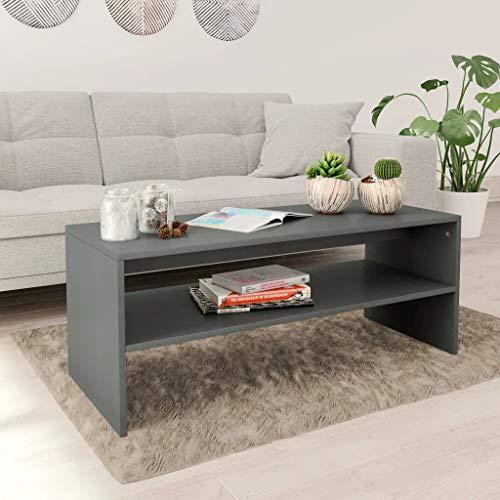 Cikonielf Couchtisch für Wohnzimmer, Couchtisch mit 1 Ablage, Kaffeetisch aus Spanplatte, 100 x 40 x 40 cm, Grau