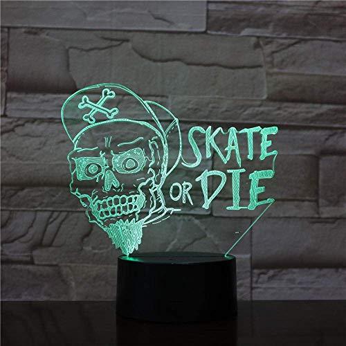 Lámpara de ilusión 3D Luz de noche LED Skate Die The Japanese Anime One Piece Bucky Niños Decoración de oficina Lámpara de escritorio Los mejores regalos de vacaciones de cumpleaños para niños