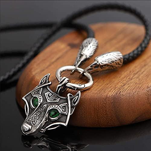 AMOZ Collar con Colgante de Amuleto de Cabeza de Lobo Fashion de Mitología Vikinga Nórdica, Joyería de Cadena de Cuervo de Cuero Vintage Trenzada Hecha a Mano para Hombres,Verde,55Cm
