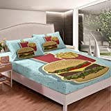 Castle Fairy High-Calorie Food Pattern Boys Girls Fitted Sheet Hamburger Coke French Fries Kids Bed Sheet Twin XLGreen Spots 2 Pieces Duvet Sheet Sets(1 Fitted Sheet 1 Pillow case)